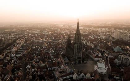 Ulmer Münster, Drohne, Luftbild, Neu-Ulm, Landschaft, Sonnenaufgang, Panorama