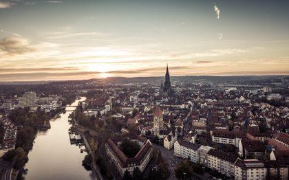 Businessfotograf, Drohne, Luftaufnahmen, Ulm, Neu-Ulm, Donau, Sonnenuntergang