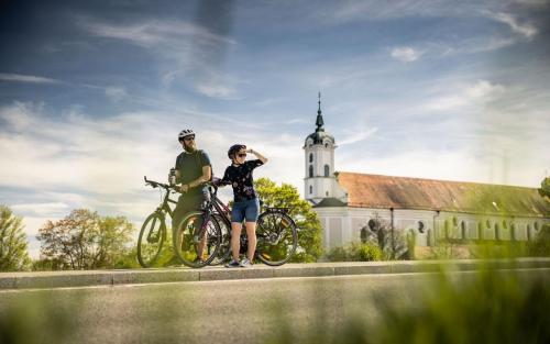 Fahrradfahren Landkreis Neu-Ulm Elchingen Paar Tourismus Freizeit Urlaub Klosterkirche Aussicht
