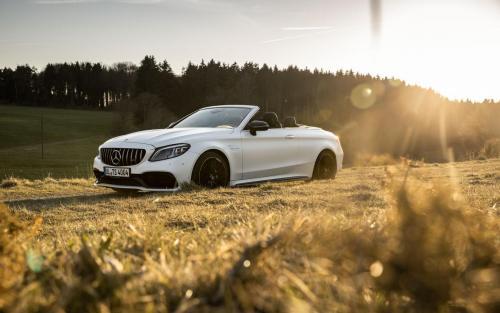 Mercedes-AMG C63 Cabrio Fotoshooting Natur V8 weiss Ulm Schwäbische Alb Autofotograf Sonnenuntergang